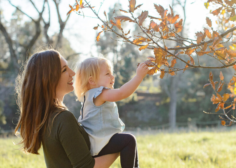Mom holds toddler daughter as she picks a brown fall leaf on a tree in Sacramento park