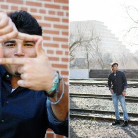 High school senior boy standing on train tracks in Old Sacramento
