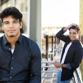 High school senior boy smiling at camera with hand in hair at Sacramento waterfront and Tower Bridge in background