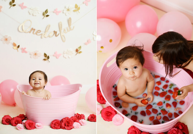 Baby girl in strawberry milk bath while sister watches in Sacramento studio