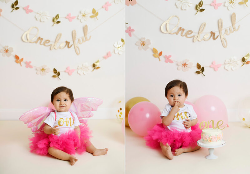One year old girl in pink tutu smashes birthday cake in Sacramento studio