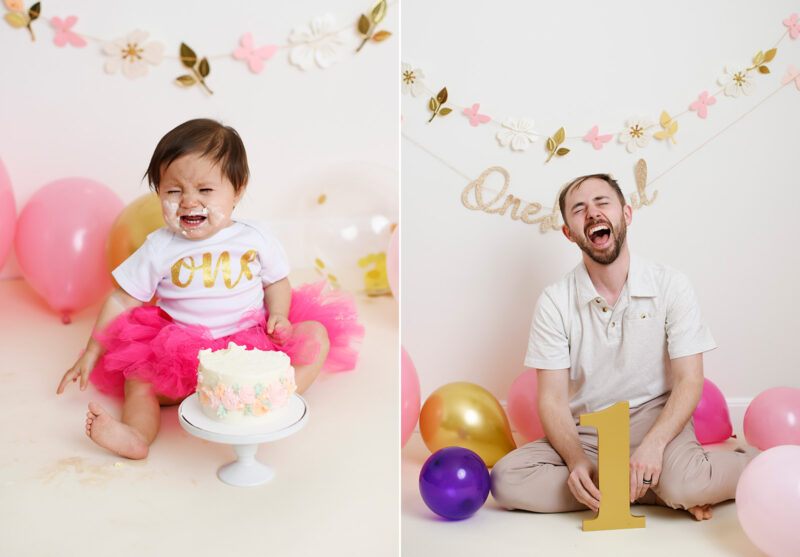 One year old girl cries with frosting on her face during cake smash. Dad cries too.