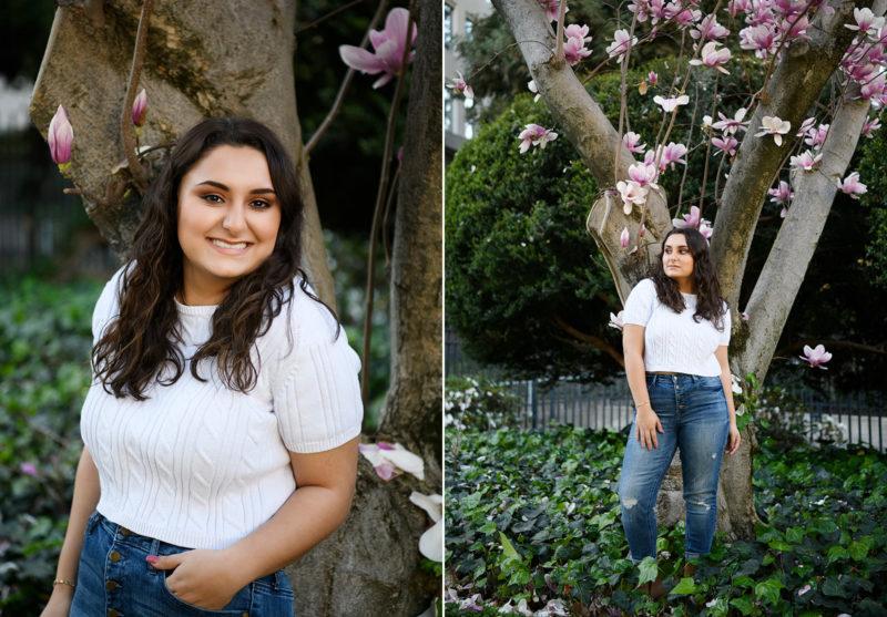 High school teen girl posing under purple flower trees at Sacramento State Capitol