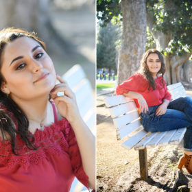 Senior graduate girl sitting on park bench in sun at Sacramento State Capitol