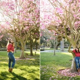 High school senior teen posing under pink blossom tree at Sacramento State Capitol