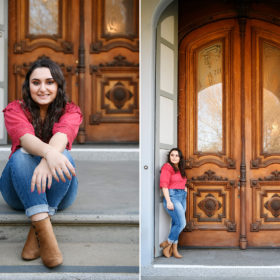 Senior graduate girl sitting and standing in front of Sacramento State Capitol steps and large double doors