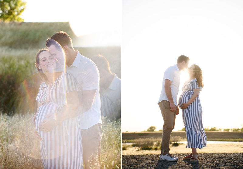Double exposure of pregnant woman hugging her husband and kissing during sunset in dry grass Sacramento