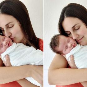 Mom giving newborn baby kisses shot on camera phone Sacramento