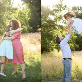 Mom hugging daughter and dad tossing daughter in air in golden natural light in Davis