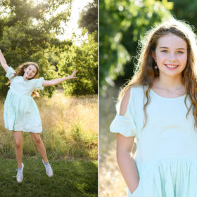 Girl jumping for joy and smiling in the dry grass in Davis