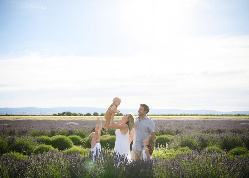 Mom lifting baby boy in air as dad and sisters watch in middle of lavender fields in Araceli Farms Dixon