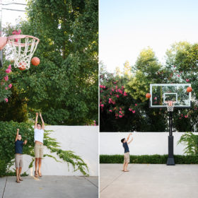 Two young brothers playing basketball in their Sacramento backyard