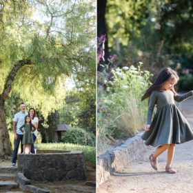 Mom and dad pose on steps while daughter puts hands on waist and twirls dress in Land Park Sacramento