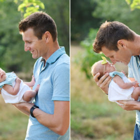 Dad gives newborn baby girl a kiss in Rocklin park