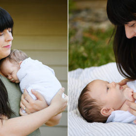 Mom holds newborn baby brother and looks at him lovingly on blanket in Sacramento backyard