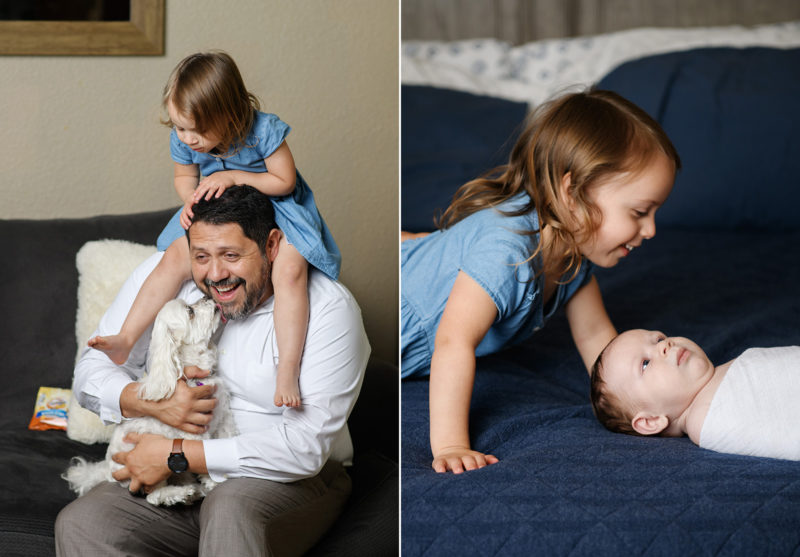 Dad gets puppy kisses while big sister is on his shoulders. Big sister looks lovingly at baby brother on bed in Sacramento home