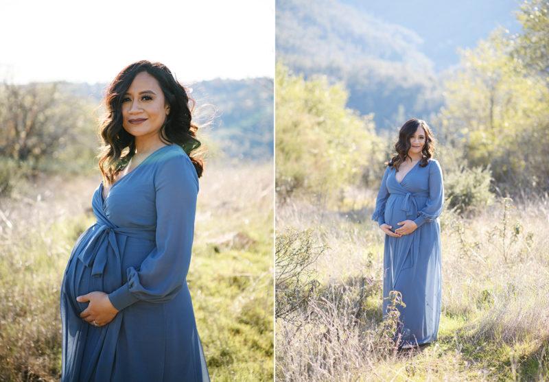 Pregnant woman wearing a powder blue maxi dress on dry grass field in Sacramento
