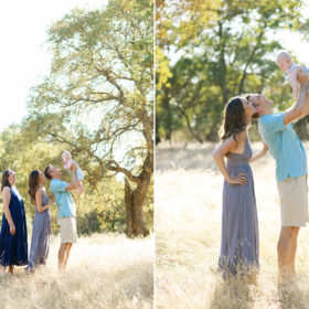 Mom, dad and grandma lift up baby boy in the air in middle of dry grass field in Davis