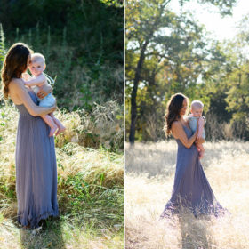 Mom holding baby boy in natural light while standing in dry grass field in Davis