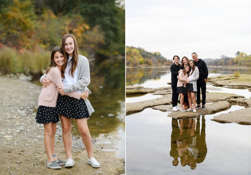 Sisters hugging my lake shore and family hugging on shallow end of lake Sacramento