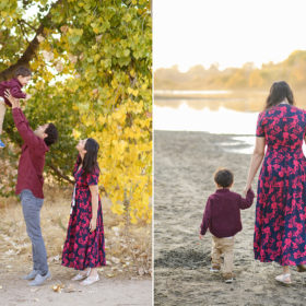 Dad lifting up son against fall foliage while mom walks along the sand by Folsom lake