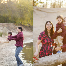 Dad swinging son by the lake and family picture on fallen log in Folsom