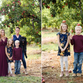Family posing directly under apple tree while daughter and son balance apples on their head in Apple Hill