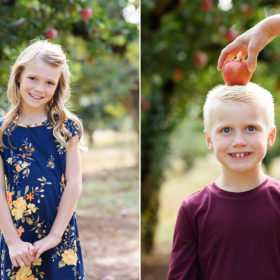 Daughter smiling directly at camera and son balancing apple on his head in Apple Hill orchard