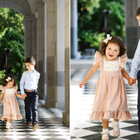 Brother and sister holding hands and walking on black and white tile in Sacramento Capitol building