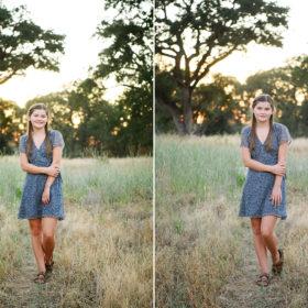 Teen girl standing in middle of grass field in Folsom