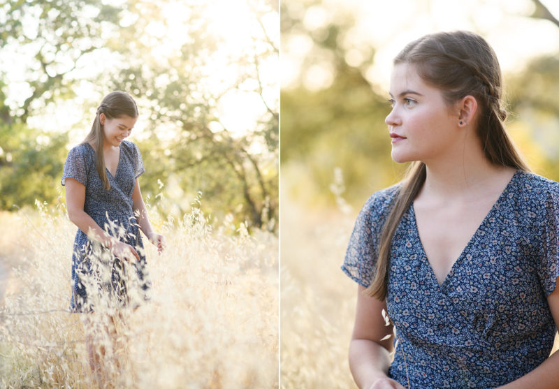 Teen girl walking through dry grass field in Folsom