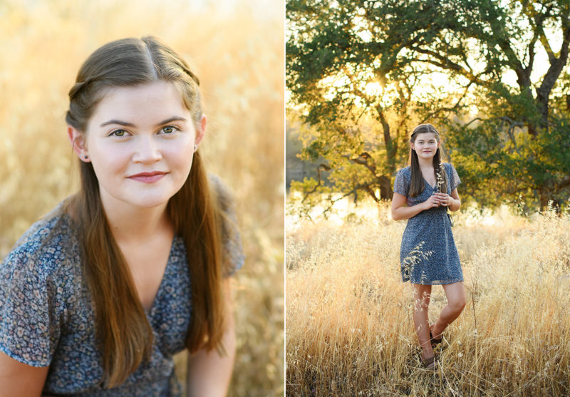Teen girl in the middle of dry grass field in Folsom